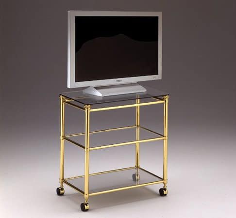 IONICA 678, TV stand trolley for living rooms, in brass and crystal