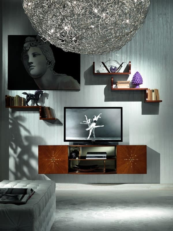 LB17 Nube bookcase, TV stand in classic luxury, for Hotel rooms