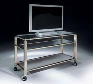 MADISON 3280, TV stand with wheels and glass top, for modern living room