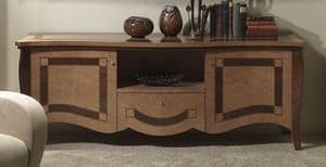 MB56 Charme, TV stand in inlaid wood, for hotels and villas