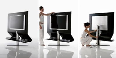 ODEON, Swivel TV-stand, made of steel and glass