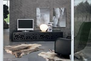 PARIS tv stand, Home theatre furniture, in perforated laminate, for living rooms