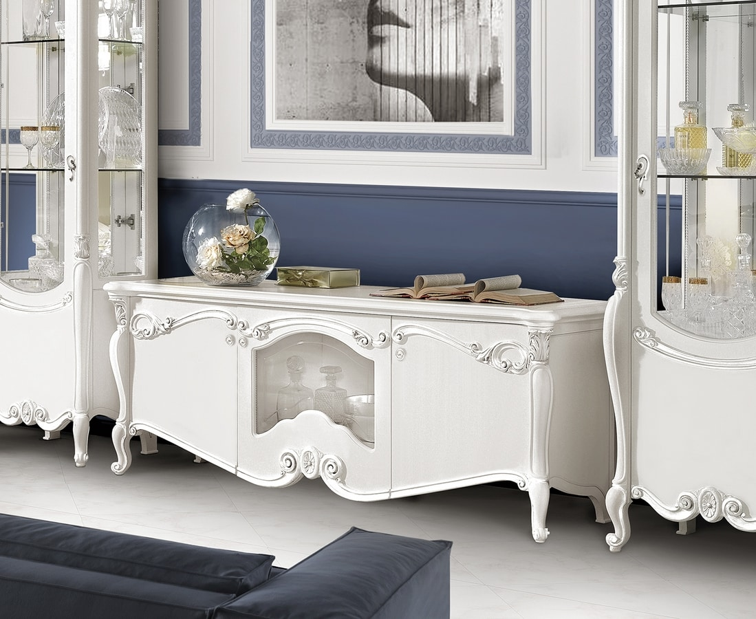 Puccini Art. 7608, Low TV cabinet in lacquered wood