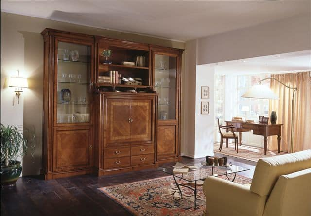 R 02, TV cabinet with closable compartment and display cabinets