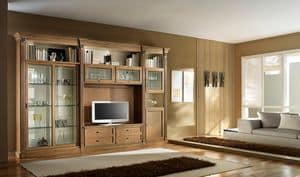 R 12, TV cabinet in cherry, with sliding doors