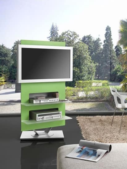 Rock, TV-stand made of steel, with swivel base
