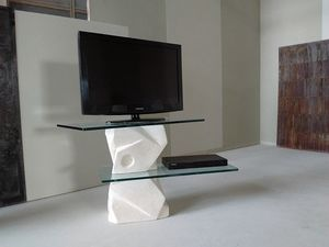 Samurai  tv stand, TV stand in carved stone