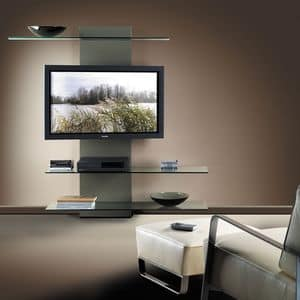 Slide TV holder, TV stand with bookcase, in laminate and glass