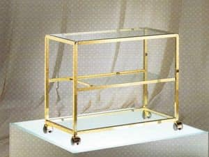 Stiga trolley, TV stand in brass and glass, for hotel rooms