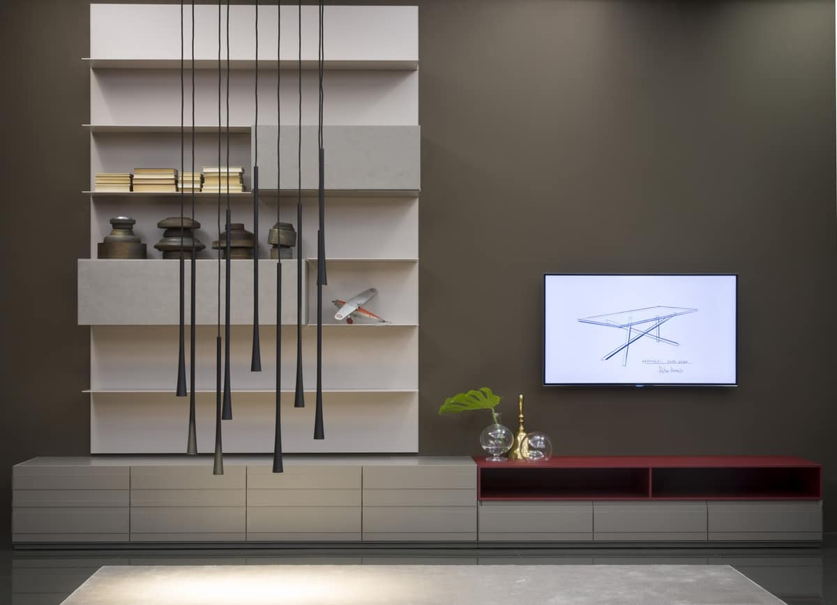 STRIPE low board on plinth comp.01, TV stand with drawers and hinged doors, several finishes