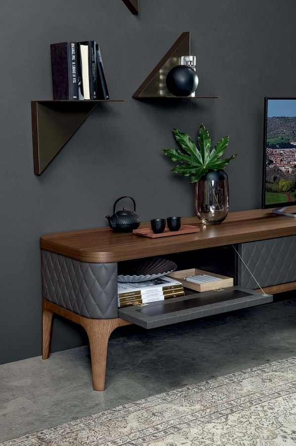 TIFFANY  tv stand, Wooden TV stand with hand-quilted leather doors