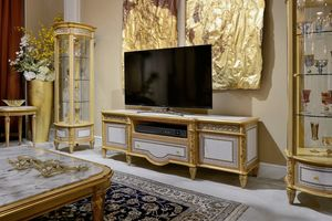 TV stand 1447 Louis XVI style, TV stand with geometric inlays