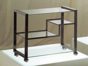 Video, Television stand trolley in brass, steel and glass