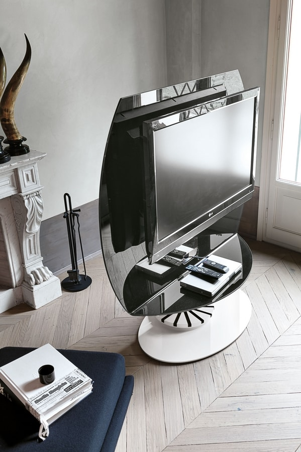 VISION PP113, Swivel TV stand, made of glass and metal