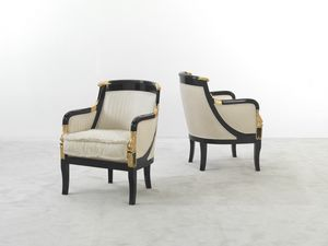 104, Imperial armchair, in striped fabric