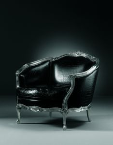 105/A Narciso, Carved armchair, with leather upholstery