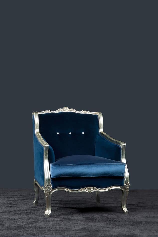Bax fabric, Classic armchair with silver finishing