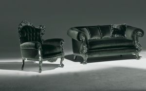 Stradivari black, Armchair with buttoned backrest for elegant living room