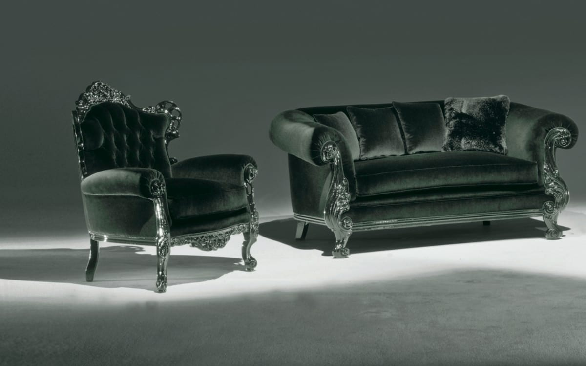 Stradivari black, Armchair with buttoned backrest for elegant living room