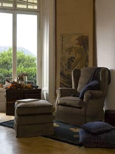 Alfredo, Armchair with removable cover and dry clean, classic style