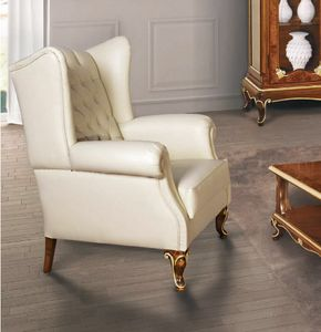 Art. 3054, Bergere armchair in white leather