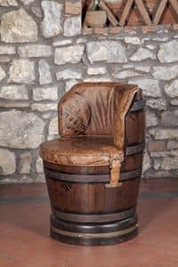 Art. CT 628, Swivel barrel-shape armchair, calfskin