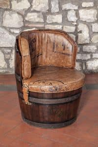 Art. CT 629, Barrel-shape armchair made of leather, padded