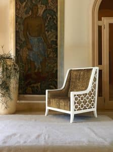 Art. VL933, Padded armchair in wood, for sitting rooms