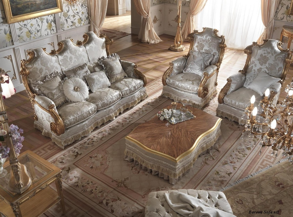 Barone armchair, Classic armchair with high back