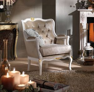 Bergere armchair, Lacquered armchair, with gold details