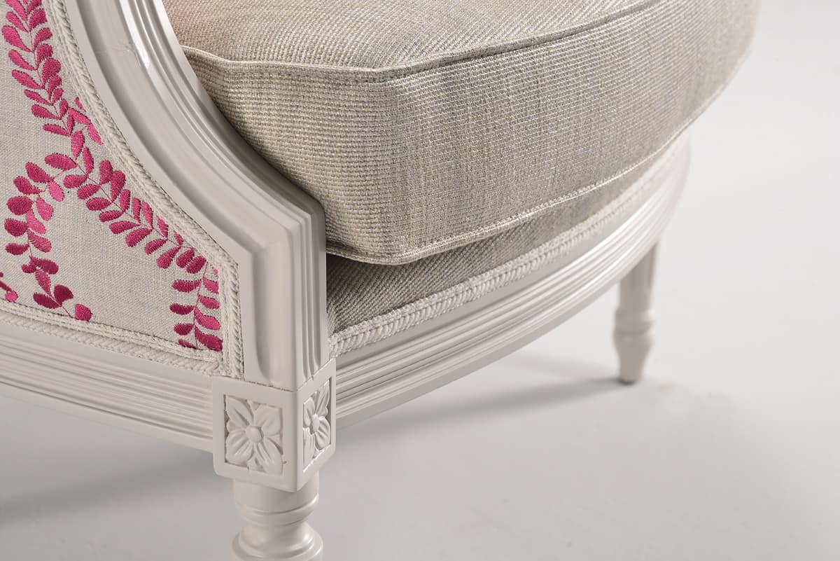 BLANCHE armchair 8652A, Decorated wood armchair, padded, customizable