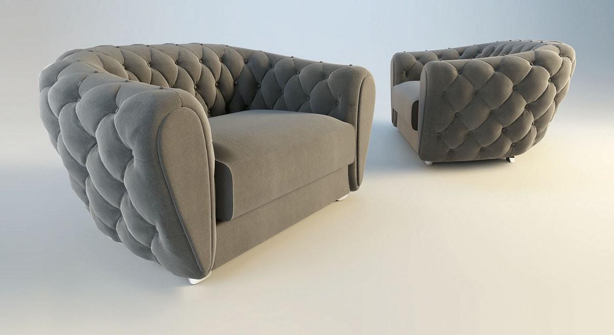 Celeste, Tufted enveloping armchair