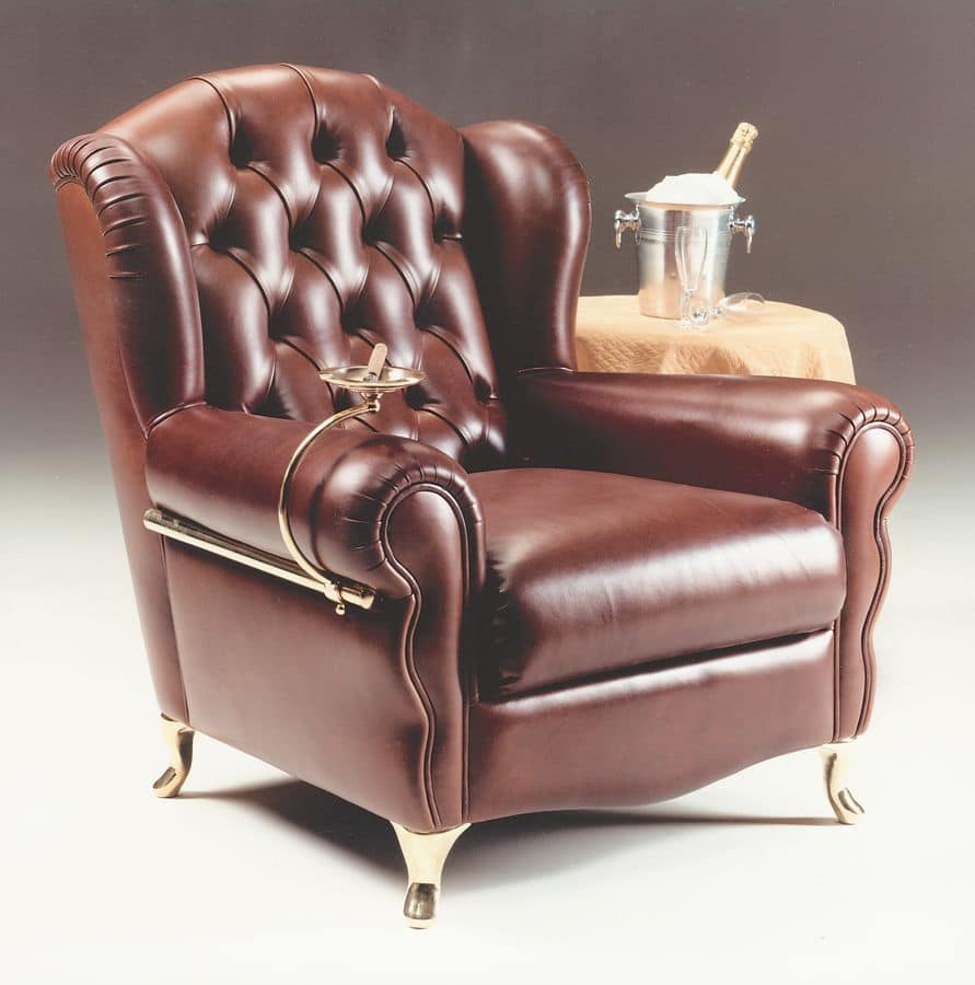 Cigar Chair, Classic Style Armchair, With Quilted Leather Finishing