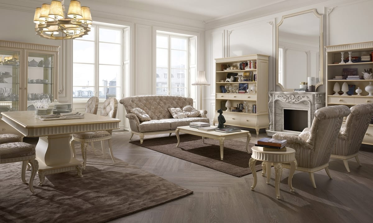 Florentia armchair, Classic armchair with decorative carvings