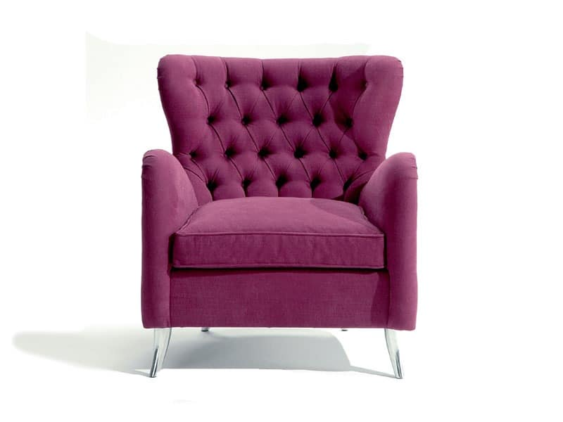 Giulietta, Bergère armchair, padded, quilted, hand crafted