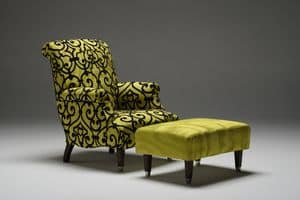 Giulio, Classic armchair with removable fabric upholstery