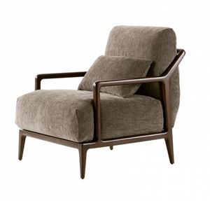 Indigo poltrona, Armchair in walnut, cushions with removable upholstery