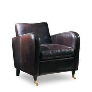 Jennifer, Full grain leather armchair ideal for living room