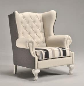 KOLE armchair 8540A, Luxurious armchair, high quilted back, for villas