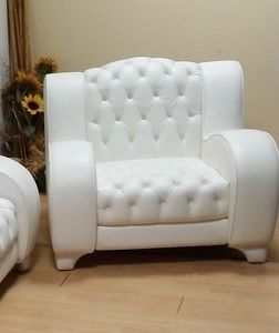Lory armchair, Tufted armchair, in white leather