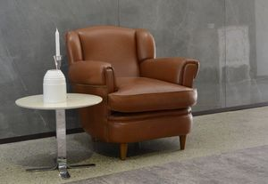 Lucia, Bergere armchair, in leather