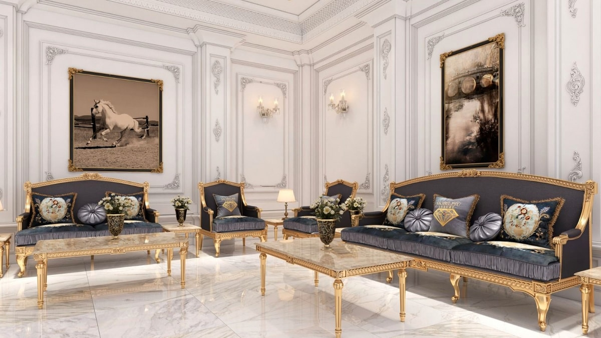 Margot armchair, Classic armchair with gold finish