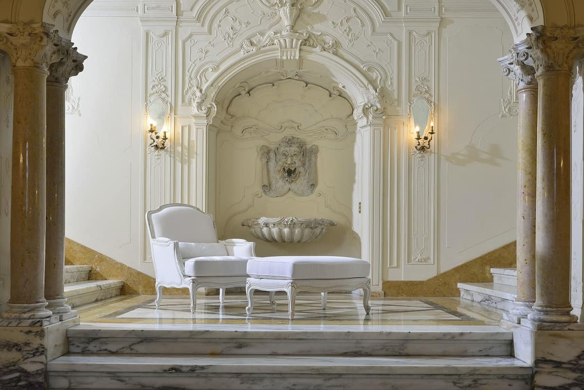 MARLENE armchair 8653A, Overstuffed armchair, carved, in luxurious classical style