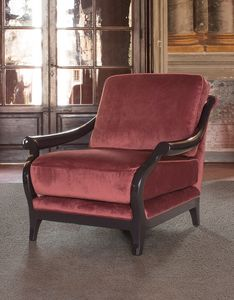 Marlon armchair, Elegant armchair, in fabric