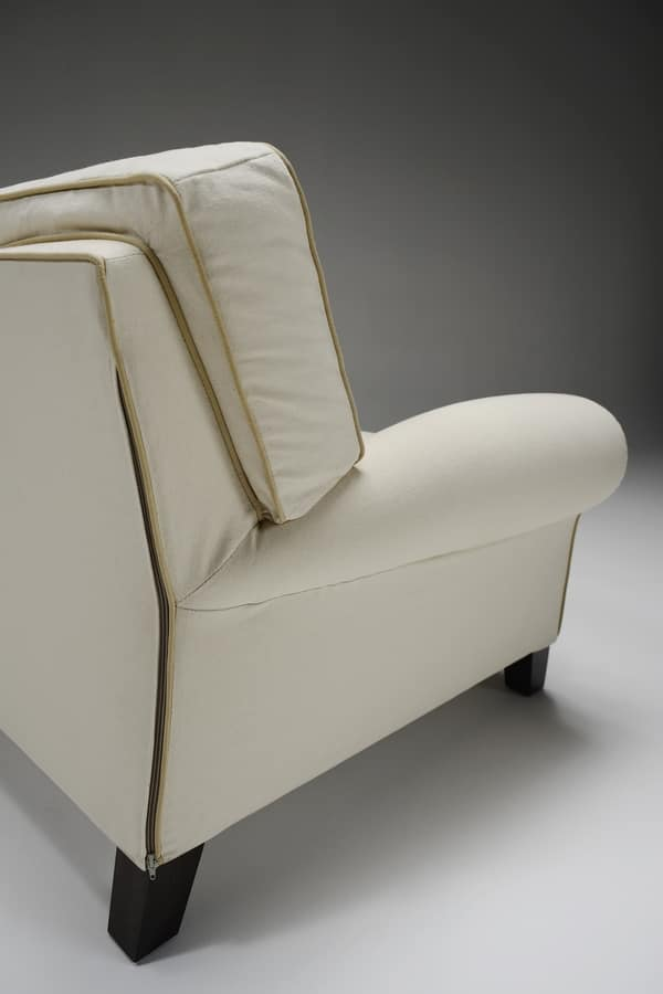 Mauro, Armchair with removable upholstery, contemporary classic design