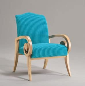 MIRA armchair 8236A, Armchair with beech wood armrests, contemporary classic