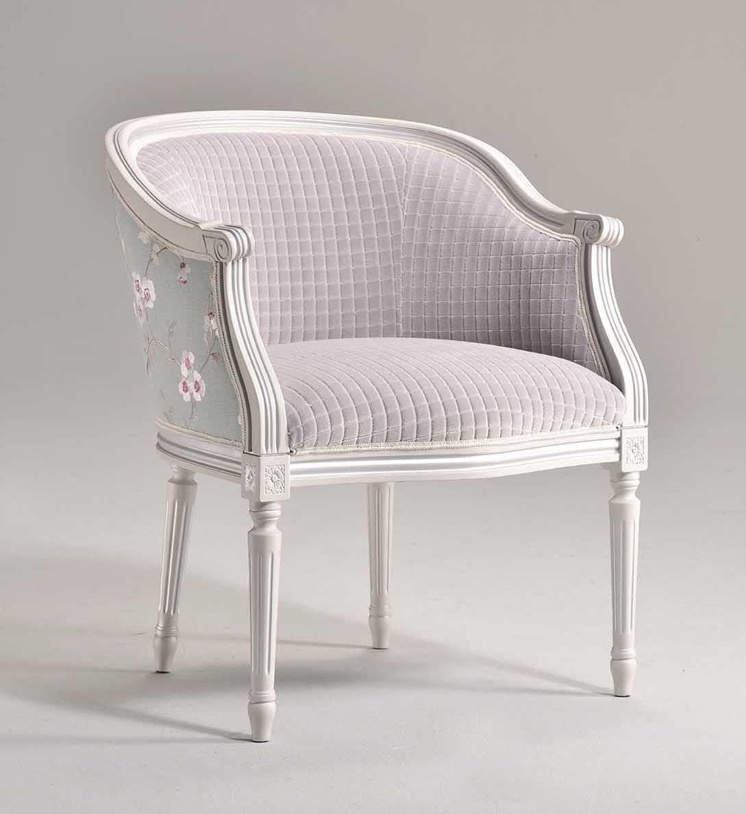 ORNELLA armchair 8039A, Upholstered beech armchair, for traditional salons