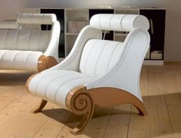 PO55 Contemporary armchair, Upholstered adjustable Armchair, wooden structure, modern