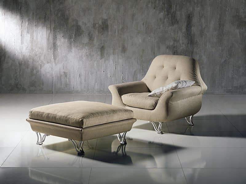 PO29 Cherubino, Wrap-around armchair with tufted backrest, for modern lounges
