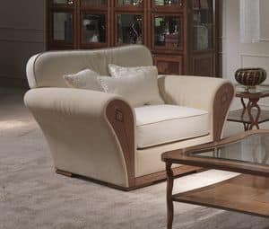 PO61 Charme, Upholstered classic armchair, in inlaid wood